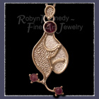 14 Karat Yellow Gold, Sterling Silver and Amethyst Gemstone 'Amethyst Curves' Pendant Image