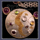 'Nouveau Moon' Brooch / Pendant and Art Deco Link Chain Image
