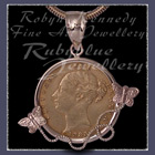 14 Karat Gold and 1885 Gold Coin 'Butterfly' Pendant Image