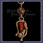14 Karat Yellow Gold, Ammolite and Chocolate Pearl 'Chocolate Flame' Pendant Image