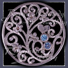 Sterlilng Silver, Aquamarine & Blue Zircon 'Birthday Bouquet' Forget-Me-Not Brooch Image
