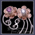 14 Karat Rose Gold, Argentium Sterling Silver, Alexandrites, Diamonds, Rubies, Peridot, Pink Tourmaline, Emerald and Blue Zircon 'Donaldson Family' Brooch image