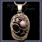 Sterling Silver, 14 karat Gold, Smokey Quartz, Opal and Diamond 'Dreamers Rock' Pendant Image
