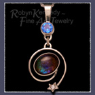14 Karat White Gold, Ammolite, Diamond and Glacial Blue Topaz 'Glaciallation' Pendant Image