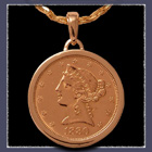 14 Karat Yellow Gold and 1880 Gold Coin Medallion Image