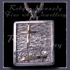 14 Karat Gold and Sterling Silver 'Jaylin's' Grass Cross Pendant Image