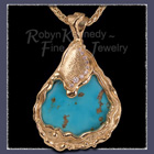 'Kiss The Sky', 18 Karat Yellow Gold, Turquoise and Diamond Pendant Image