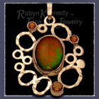 14 Karat Yellow Gold, Ammolite and Citrine 'Mercury Rising' Pendant Image