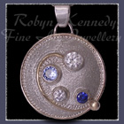 14 Karat Yellow Gold, Sterling Silver, Cubic Zirconia's, Aquamarine and Sapphire 'Monica's Life' Pendant Image