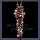 Sterling Silver, Coloured Pearls, Austrian Crystal, Amethyst and Czech Glass, 'Purple Cluster' Necklace Image