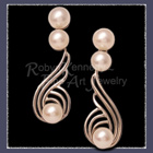 14 Karat White Gold with Pearls, Dangle Earrings Image