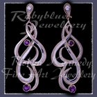 14 Karat Yellow Gold, Sterling Silver, Diamonds and Amethyst 'Queen Charlotte' Opera-Length Earrings Image