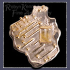 Sterling Silver & 14 Karat Gold Pendant / Brooch Set with Diamonds & Rutilated Quartz Image