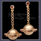 14 Karat Yellow Gold , Ruby and Garnet Dangle Earrings Image