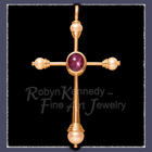 14 Karat Gold, Star Ruby, Freshwater and Cultured Pearl Pendant Image