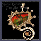 18 Karat White and Yellow Gold, Ammolite and Orange Sapphire Pendant / Brooch Image