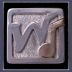 10 Karat Yellow Gold & Sterling Silver 'WHIM' Lapel Pin Image