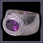 Sterling Silver, Genuine Amethyst and Cubic Zirconias Ring Image