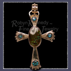 10 Karat Gold, Ammolite and Diffused 'Evergreen' Topaz Cross Pendant Image