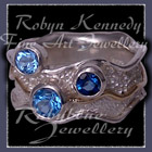 14 Karat Yellow Gold, Sterling Silver, Swiss, London and Sky Blue Topaz 'Blue Pleasures' Ring Image