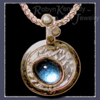 18 Karat Yellow Gold, Reticulated Silver and Cabochon Blue Topaz 'Bubbles' Pendant Image