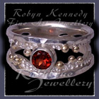 10 Karat Yellow Gold, Sterling Silver and AA Mozambique Garnet 'Chicl' Ring Image