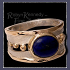 10 Karat Yellow Gold, Sterling Silver and Lapis Lazuli 'Connect the Dots' Ring Image
