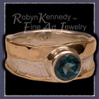 10 Karat Yellow Gold, Sterling Silver and Genuine Evergreen Diffused Topaz 'Eden' Ring Image