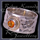 14 Karat Yellow Gold, Sterling Silver and AA Citrine 'Flair' Ring Image
