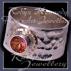 14 Karat Yellow Gold, Sterling Silver and Mystic Sunrise Topaz 'Flare' Ring Image