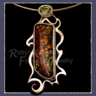 14 Karat Yellow Gold, Sterling Silver, Ammolite and Peridot, Green Drsgon' Pendant / Brooch Image