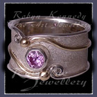 10 Karat Yellow Gold, Sterling Silver and Lavendar Cubic Zirconia 'Serenity' Ring Image