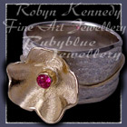 18 karat Yellow Gold, Sterling Silver and Genuine Ruby 'Love Blooms' Ring Image