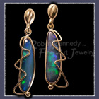 18  and 14 Karat Yellow Gold and Opal 'Opal Lightening' Earrings Image
