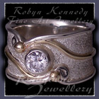 10 Karat Yellow Gold, Sterling Silver and Cubic Zirconia, 'Serenity' Ring Image