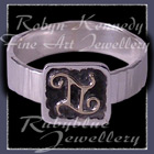 14 Karat Yellow Gold and Sterling Silver 'Gemini' Zodiac Ring