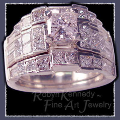 18 Karat White Gold, Princess and Baguette Cut Diamonds Wedding and Engagement Ring Set Image
